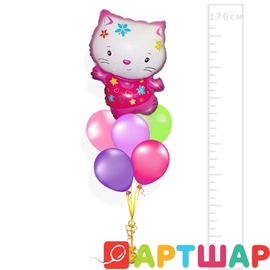Фото Мини букет из шаров Hello Kitty (Хелло Китти)